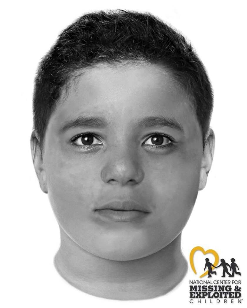 This image provided by the Las Vegas Metropolitan Police Department and created by the National Center for Missing and Exploited Children depicts a slain boy believed to be between the ages of 8 and 12 whose body was found Friday, May 28, 2021, off a hiking trail between Las Vegas and rural Pahrump, Nevada. Police in Las Vegas are trying to identify the child. They say he was 4-foot-11, weighed about 125 pounds, and his death was clearly a homicide. (National Center for Missing and Exploited Children/Las Vegas Metropolitan Police Department via AP)