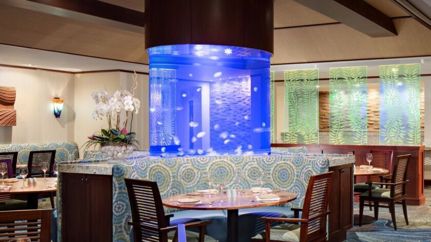 Oceana Coastal Kitchen's Table 31 puts you out to sea with its dramatic aquarium.