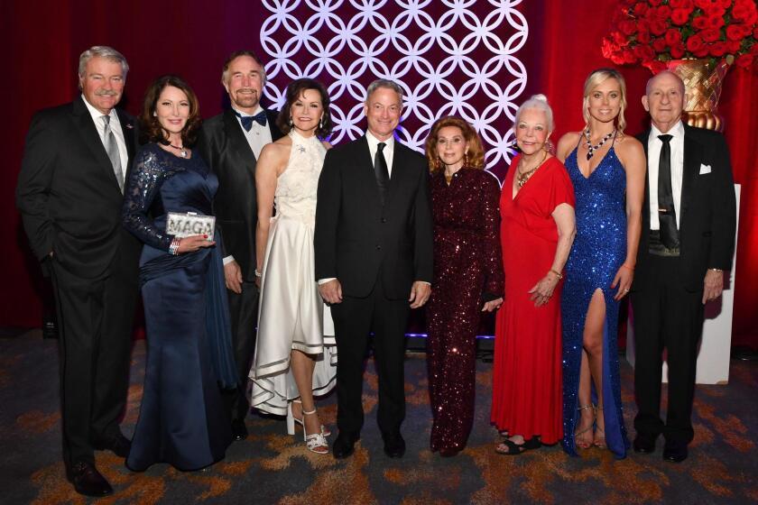 Gala co-chairs George and Helene Gould and Richard and Arlene Esgate; Gary Sinise (honoree), Gala co-chairs Reena Horowitz, Jeanne Jones, and Stephanie Brown; Ernest Rady (honoree)