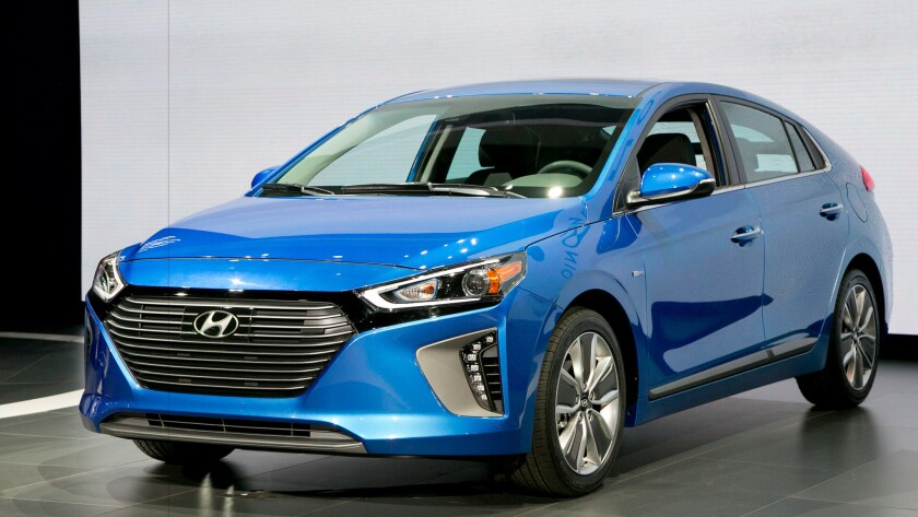 The 2017 Hyundai Ioniq hybrid at the New York International Auto Show in March. It goes on sale in California this year.