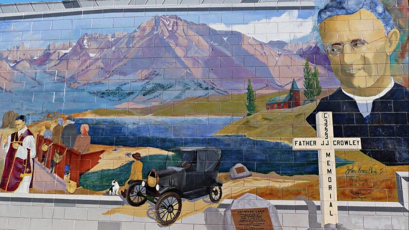 BISHOP, CA-- Across the downtown, there are more than a dozen large murals painted/created on storef