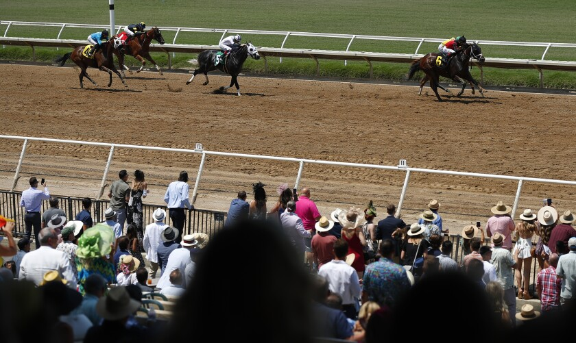 Horses come into the finish for the first race of the 2021 season at the Del Mar Thoroughbred Club Friday.