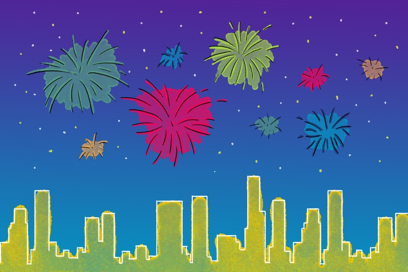 Illustration of a night sky with fireworks lit up in the background and a yellow skyline of L.A. beneath.