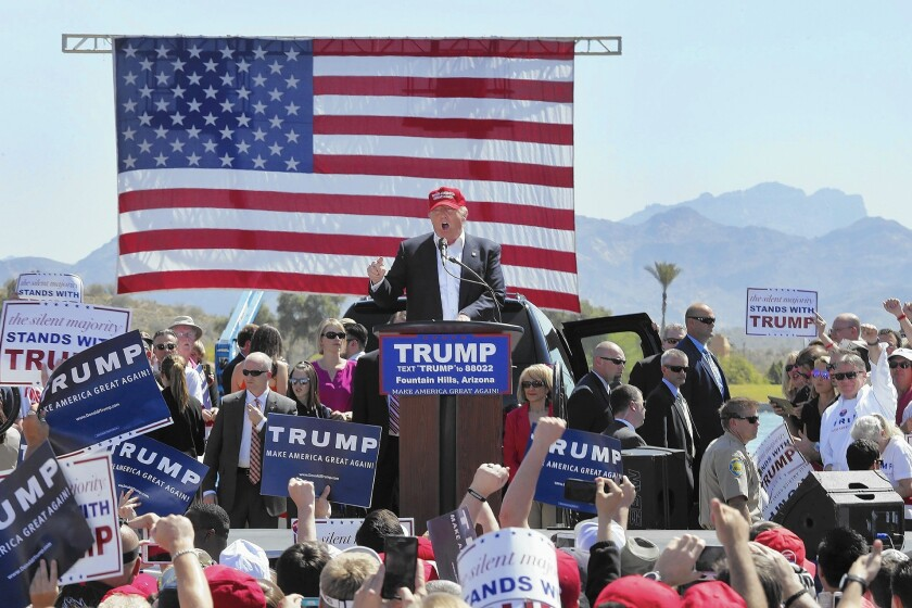 Republican presidential front-runner Donald Trump speaks to supporters at a rally in Fountain Hills, Ariz., on Saturday.