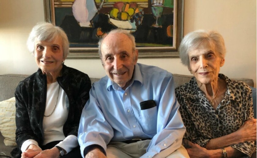 Betty Hocky Woolf, of Carlsbad, (left) and her siblings, at 93 are oldest 'mixed' triplets in Guinness records.
