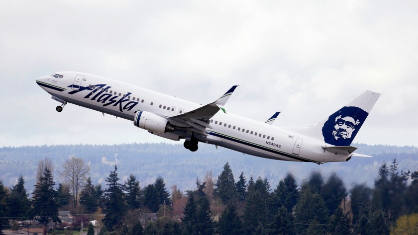 An Alaska Airlines jet takes off at Seattle-Tacoma International Airport.