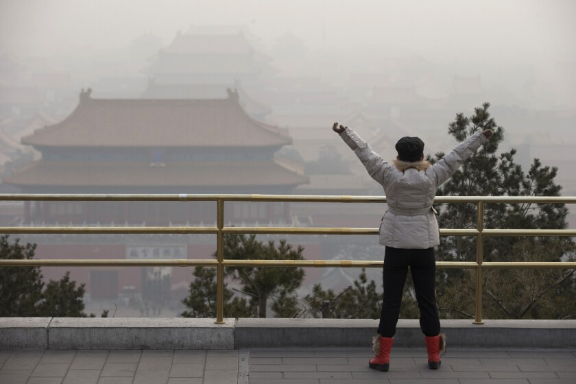 Air pollution in Beijing's Forbidden City.