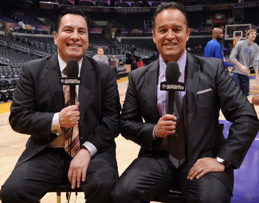 Sports announcers Adrian Garcia Marquez, left, and Francisco Pinto.