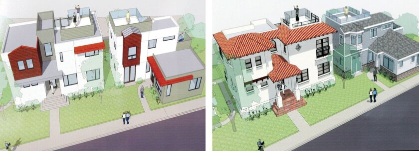 The Development Permit Review committee denied Golba Architecture's initial plans for this property at 6752-6762 Tyrian St. (left), though unanimously approved revised plans (right) during the DPR's April 14 meeting.