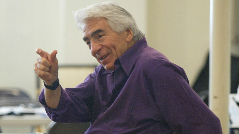 """Gordon Davidson is shown rehearsing for """"Stuff Happens,"""" his last play as artistic director at the Mark Taper Forum."""