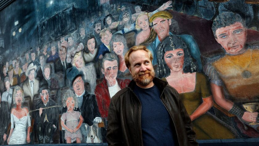 """Robert Foulkes, location manager for """"La La Land,"""" is photographed in front of the """"You Are the Star"""" mural, in Hollywood. The mural is one of many vintage L.A. locations used in the critically acclaimed movie musical."""