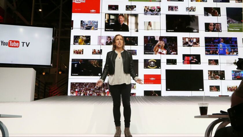 YouTube CEO Susan Wojicki speaks during the introduction of YouTube TV at YouTube Space LA in Los An