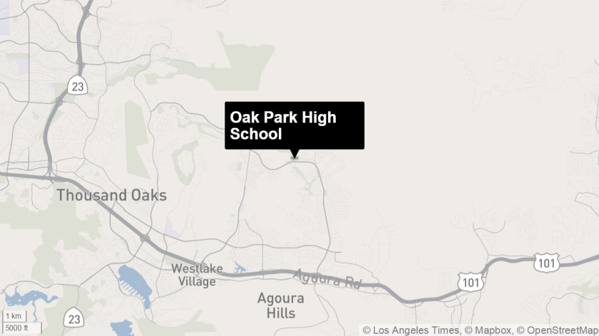 This map shows the location of Oak Park High School in Ventura County.