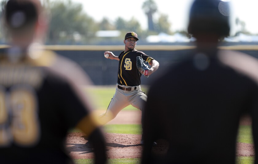 Padres pitcher Luis Patiño throws during Padres spring training at the Peoria Sports Complex.