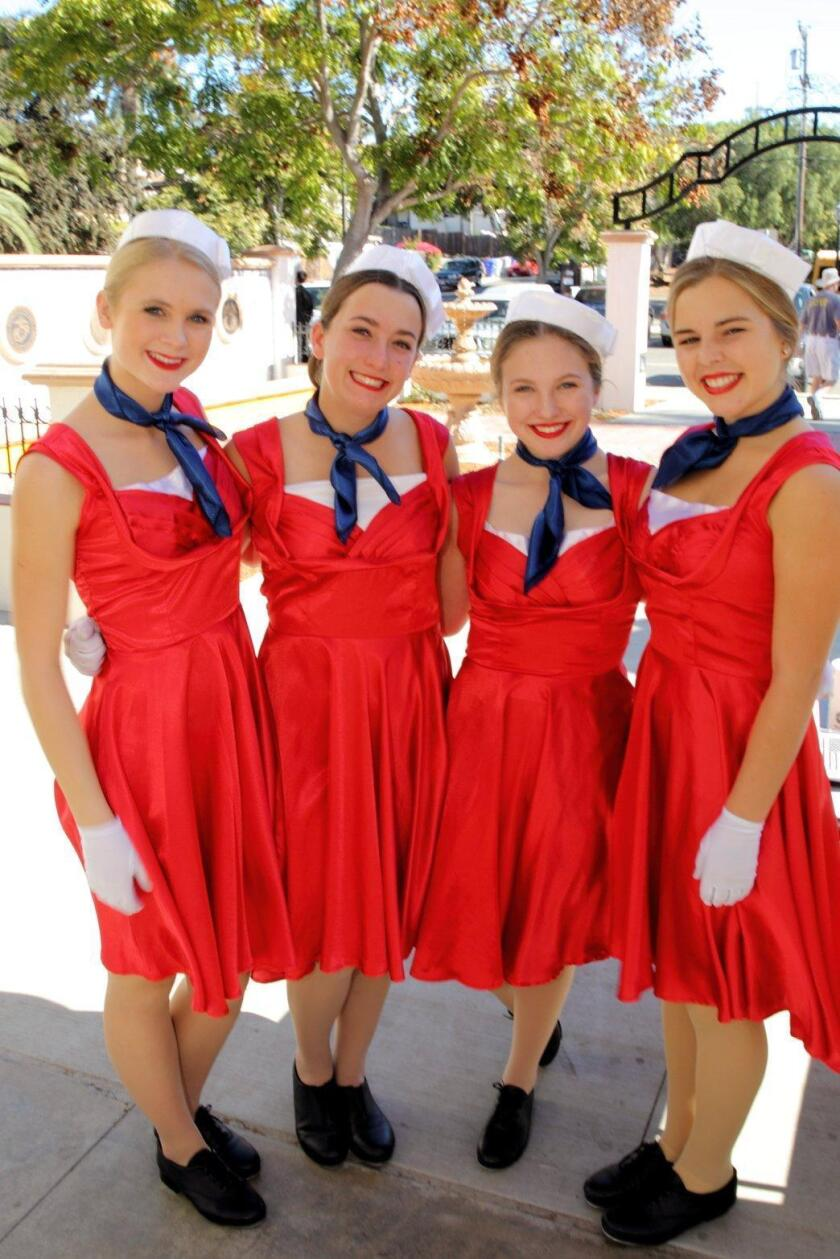 Grace Trotta, Ella Stichler, Lucy Marx, and Kelsey Wickenhiser from the Santa Fe Christian School dance troop.