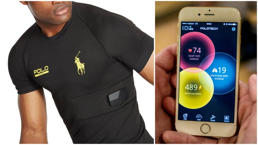 The Ralph Lauren PoloTech smart shirt ($295), at left, hits retail Thursday. It sends data, including heart rate and calories burned, to a fitness app that runs on Apple devices such as the iPhone at right.
