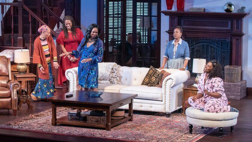 (from left) Wandachristine as Anne, Zakiya Young as Tendikayi, Ramona Keller as Margaret Munyewa, Ch