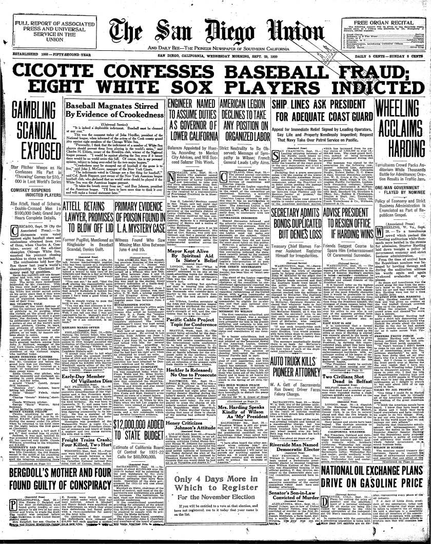 Front page of The San Diego Union, Sept. 29, 1920