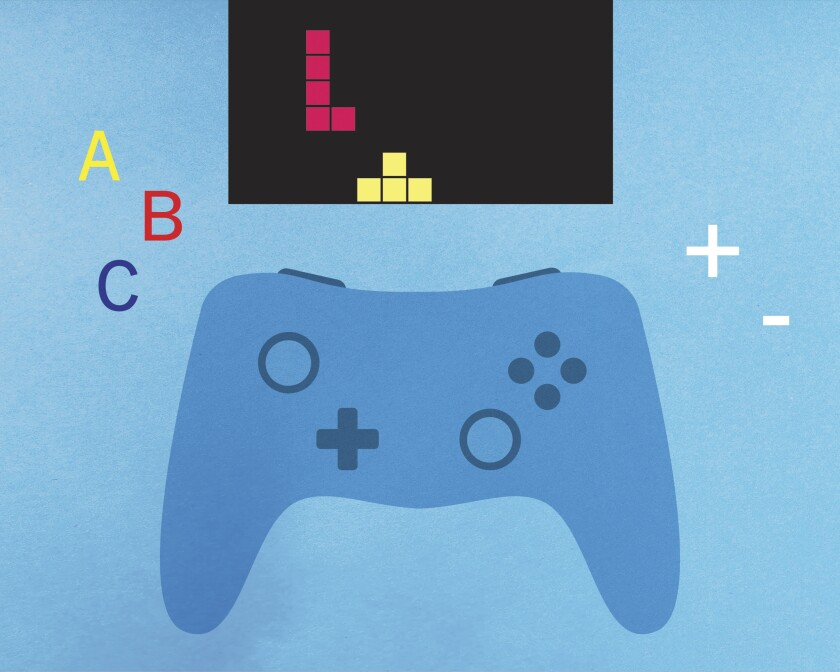 illustration of a video game controller in front of a screen with Tetris blocks