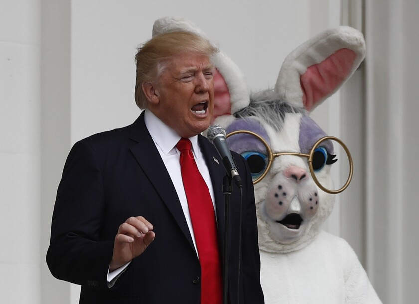 President Trump was joined by the Easter Bunny during the annual White House Easter Egg Roll in 2017. This year, he's calling for the country to be back to normal by Easter.