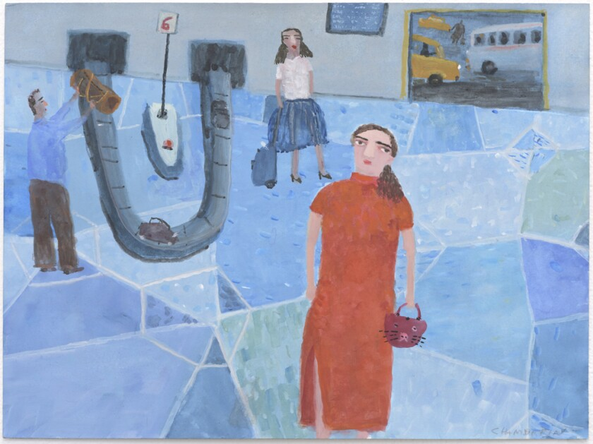 """Arrivals,"" 2015, a gouache on paper by Ann Chamberlin at Lora Schlesinger"