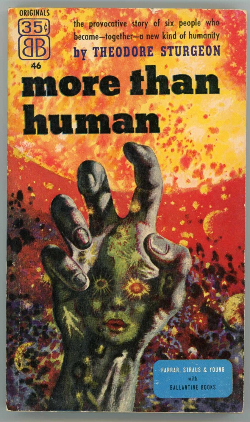 """REQUIRED CAPTION: Book jacket for Theodore Sturgeon's """"More Than Human"""" 1953 with art by Richard M."""