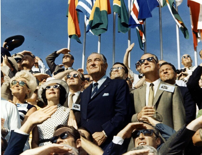 On July 16, 1969, Apollo 11 launched from Florida. Former President Johnson, center, with his wife, Lady Bird, left, and Vice President Spiro Agnew, right, were among the onlookers that NASA had invited to witness the start of the moon mission.