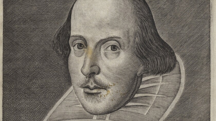 A 1623 engraving by Martin Droeshout for Shakespeare First Folio.