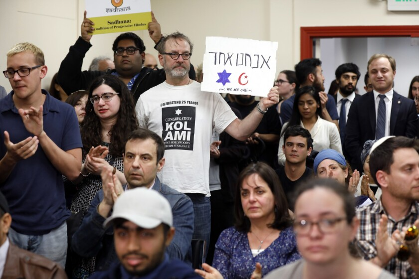 LOS ANGELES, CALIFORNIA--MARCH 15, 2019--People of all faiths come together at The Islamic Center of