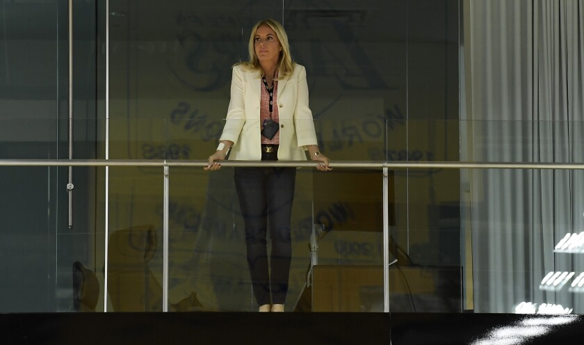 Jeanie Buss, co-owner and governor of the Lakers, looks from a balcony before the start of a news conference to introduce Anthony Davis at the team's training facility in El Segundo on July 13, 2019.