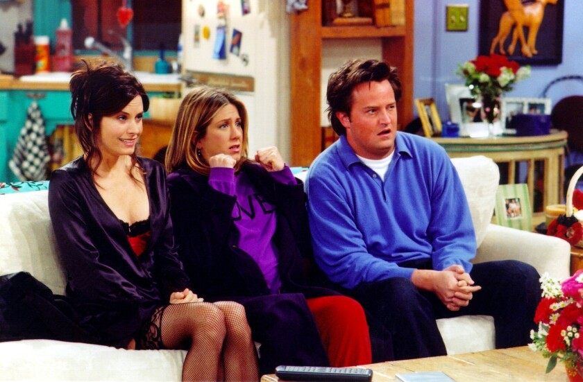 "From left: Courteney Cox, Jennifer Aniston and Matthew Perry in a scene from ""Friends."""