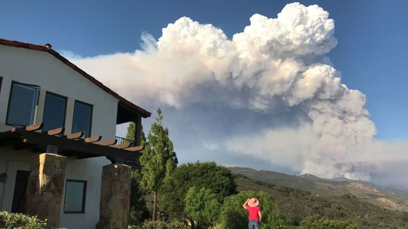 The Whittier fire burns in the Santa Ynez Mountains near Goleta.