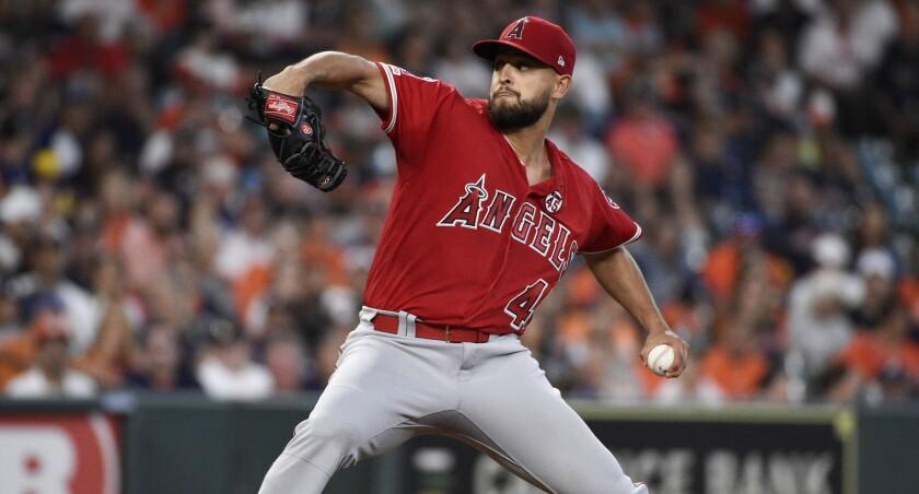 Angels rookie left-hander Patrick Sandoval delivers a pitch Sept. 21, 2019.