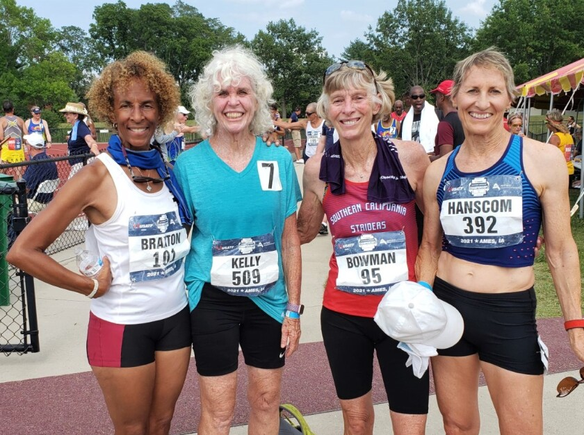 Two San Diegans, Pat Kelly, second from left, and Rita Hanscom, right, were on a relay team that set a USATF world record.