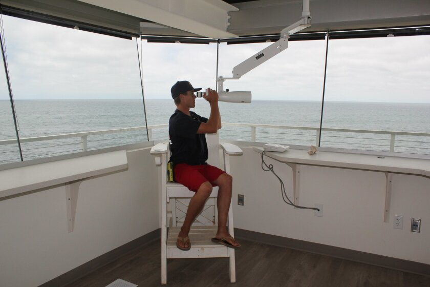 The new lifeguard tower at Children's Pool offers a wide view of the water. The backward seating allows lifeguards like David Dupont the ability to view both beaches north and south of the tower.