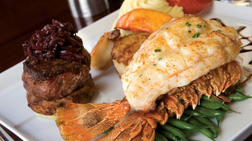 Surf and turf plate at the Black and Blue Steakhouse at Valley View Casino and Resort. Courtesy phot