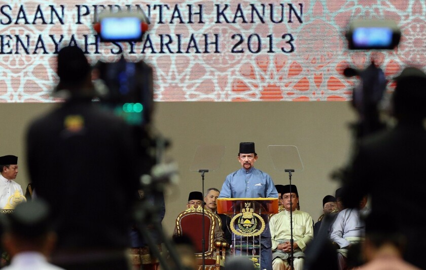 Brunei Sultan Hassanal Bolkiah announced the start of sharia law in the tiny Southeast Asian country at a news conference in Bandar Seri Begawan, the capital.