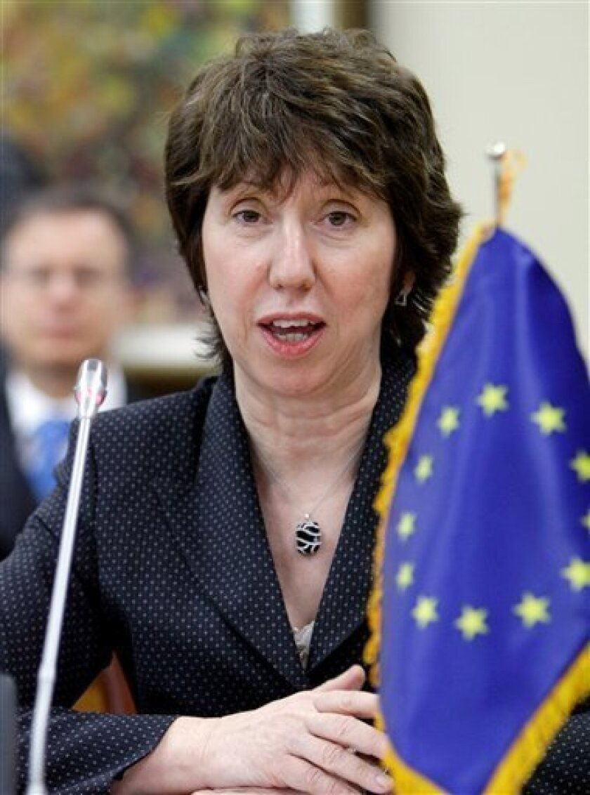 EU Trade Commissioner Catherine Ashton delivers a speech during a meeting with South Korean counterpart Kim Jong-hoon, unseen, at Foreign Ministry in Seoul, South Korea, Monday, Jan. 19, 2009. South Korea and the European Union launched top-level trade talks Monday in what was seen as a bid to iron