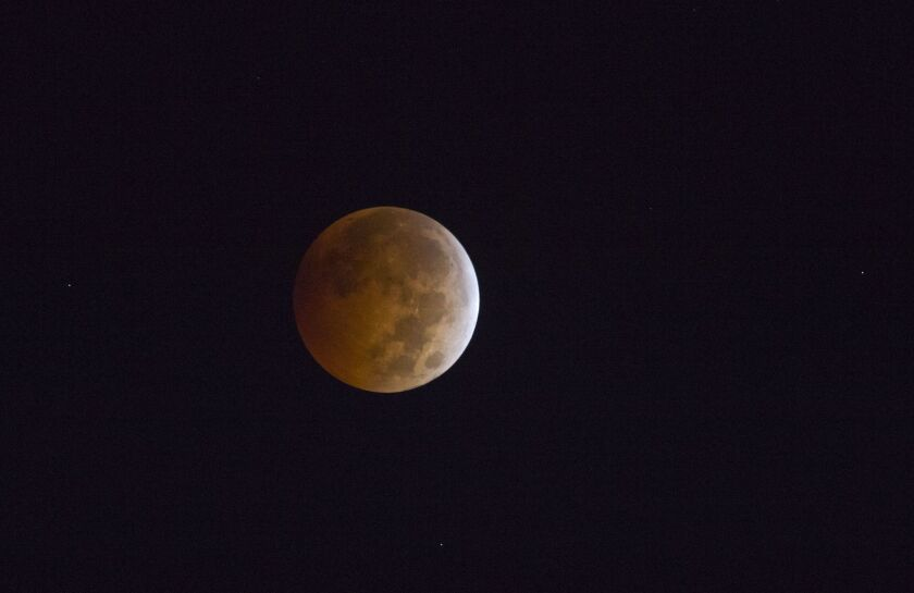 A total lunar eclipse, as seen from Los Angeles in October 2014.