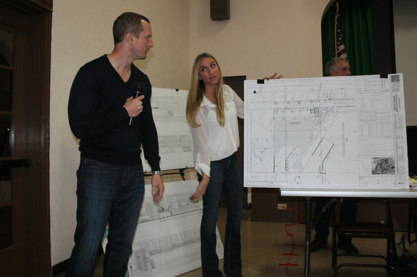 Philip Quatrino and Ashley Prikosovits of PQ Design Studio take another failed stab at wooing the La Jolla Community Planning Association into approving a three-story mixed-use project (next to Vons market on Girard Avenue). La Jolla's Planned District Ordinance only allows for commercial structures of two stories in that area, the group contends. Pat Sherman