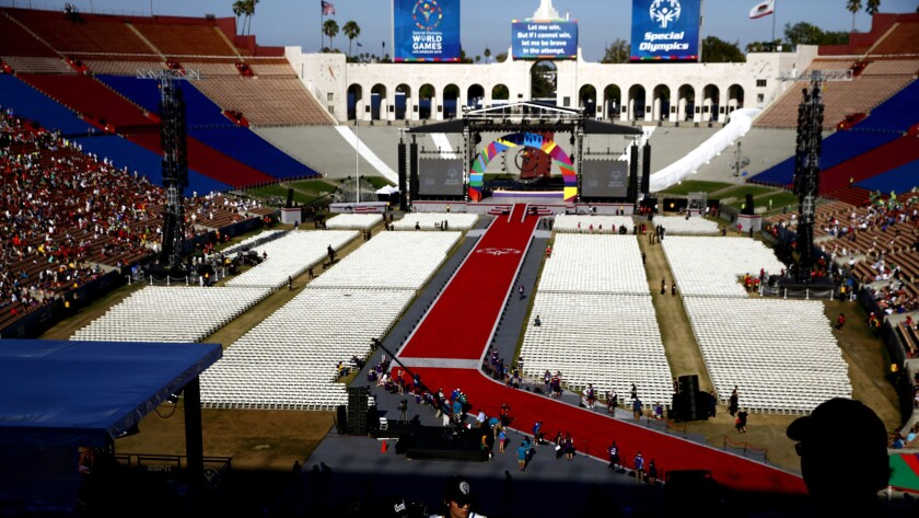 The Memorial Coliseum is decorated for the opening ceremony of the 2015 Special Olympics World Games last summer.