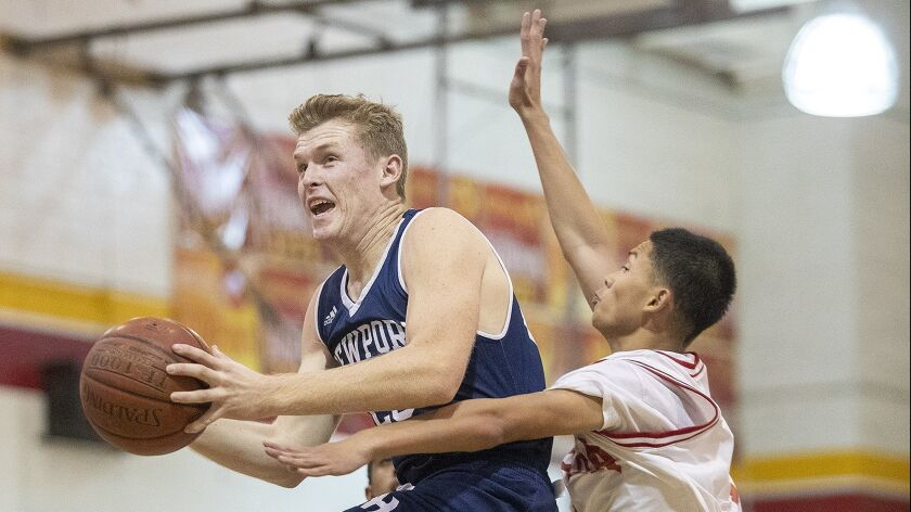 Newport Harbor's Sam Barela drives to the hoop past Loara's Dakota Nanthavongdouansy during the Gri