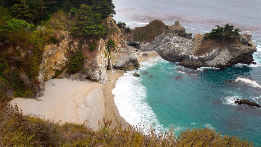 A scenic view of the waterfall at Julia Pfeiffer Burns State Park near Big Sur taken last summer. The park is closed indefinitely, as are others in the area.