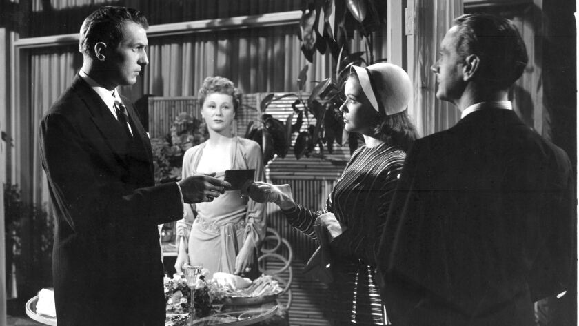 """Vincent Price, Judith Anderson, Gene Tierney and Clifton Webb in """"Laura."""""""