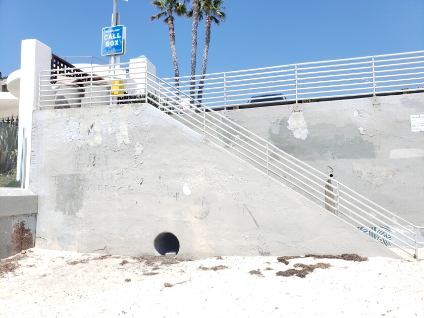 The geometric wall on which a mural could be painted at Marine Street beach.