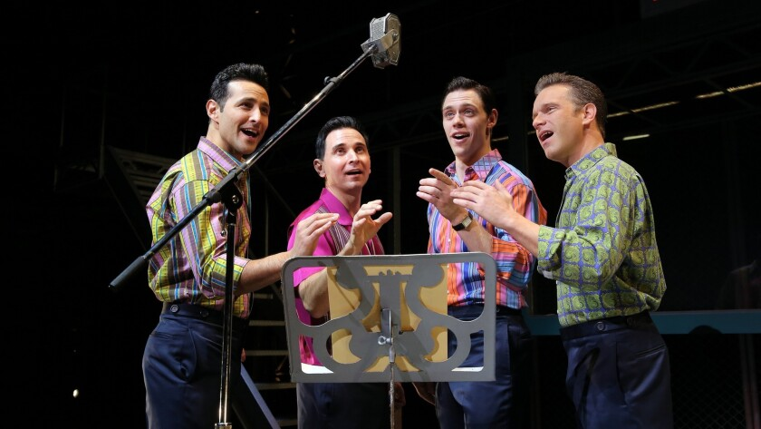 """Members of the """"Jersey Boys"""" cast stage a session in a recording studio. From left, Jason Martinez, Travis Cloer (who plays Frankie Valli), Jason Kappus and Daniel Robert Sullivan."""