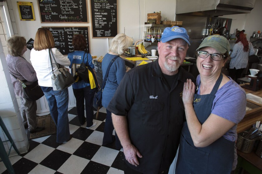 "Bob and Kate Carpenter in their small breakfast and lunch cafe called Sunny Side Kitchen, which was recently ranked #51 on Yelp's ""Top 100 places to eat in the U.S."" list, in Escondido. (Hayne Palmour IV/ Union-Tribune)"