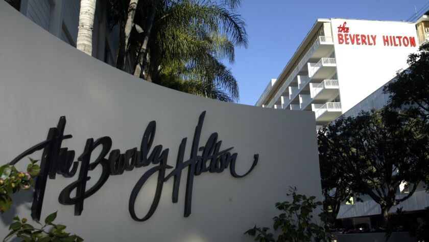 Hilton has not rolled out the app at the Beverly Hilton in Beverly Hills, but it hopes to do so in the future.