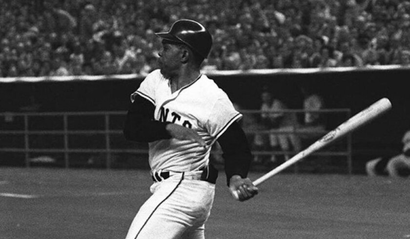 Willie Mays singles in the first inning of the 1968 All-Star Game at the Houston Astrodome.
