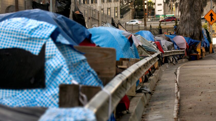 Tents lined up along South Beaudry Avenue in downtown Los Angeles in November 2017.